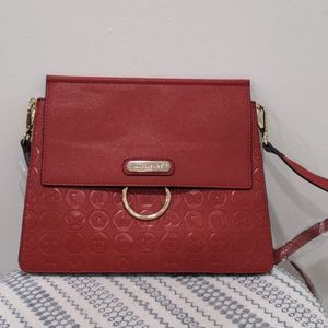 Nicole Lee New Red Leather Embossed Bag